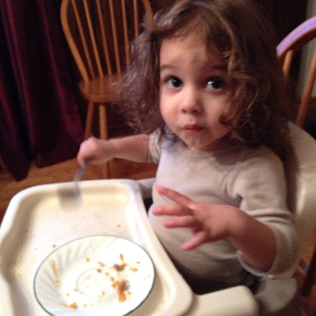 Thinks the sweet potato casserole is Pie. #toddler #parentwinning