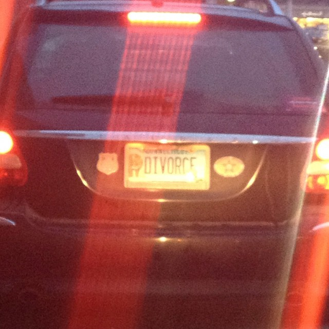 """Who is more likely to get a """"divorce"""" vanity plate: Guy or gal?"""